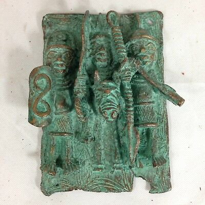 Benin Bronze Plaque Of 3 Warriors Nigeria African Tribal Art 19cm