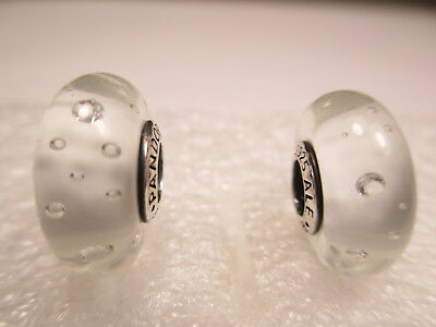 2 Authentic Pandora Silver 925 Ale White Effervescence Beads Charms 791617CZ New