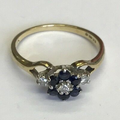 Vintage Solid 9ct Gold Diamond And Sapphire Dress Ring Size J1/2