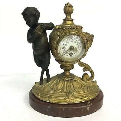 Fine Antique 19th C Gilt Bronze Table Clock Standing Faun Figural Marble Base
