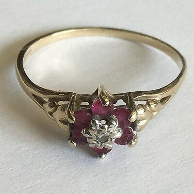 Vintage Solid 9ct Gold Diamond & Ruby Cluster Ring Size L
