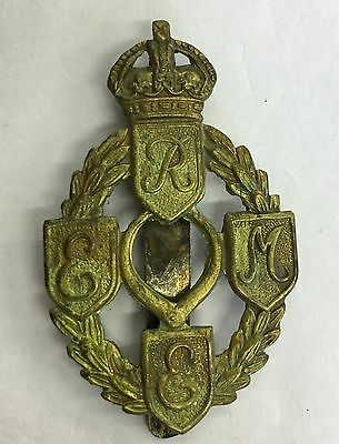 Vintage Brass Royal Electrical And Mechanical Engineers Cap Badge