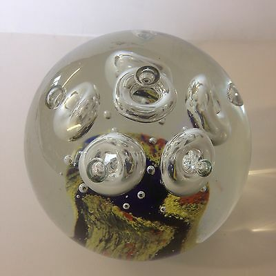 Large Art Glass Paperweight With Air Bubble Effect. Unsigned. 12cm Diameter