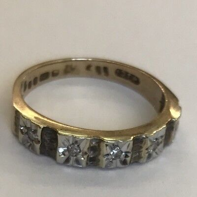 Vintage 9ct Solid Gold Illusion Set Diamond Half Eternity Ring 5 Stone Size H