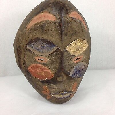 Painted Carved Wood Bamileke Mask From Cameroon African Tribal Art 30cm