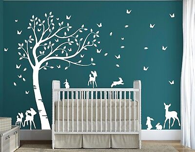 Full Size Baby Deer and Bunny Rabbits Forest Tree Nursery Room Wall Decal DD010