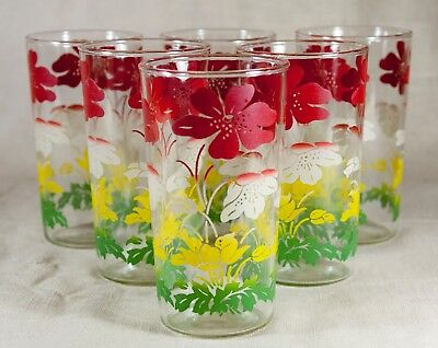 Set of 6 Vintage 1950s SWANKY SWIGS GLASSES RED WHITE GREEN FLOWERS RETRO & NICE