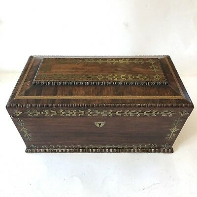 Fine Antique Regency Brass Inlaid Rosewood Two Section Tea Caddy 35cm A/F