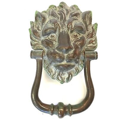 Large Bronze Lions Head Door Knocker Patina Antique Style 24cm Downing Streeet