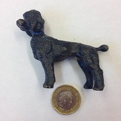 Cold Painted Bronze Figure Of A Black Poodle With Blue Collar Probably Austrian