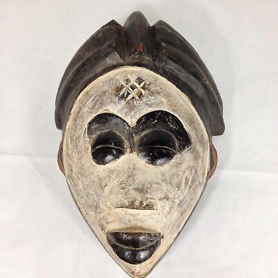 Painted Carved Wood Bamileke Mask From Cameroon African Tribal Art 33cm High