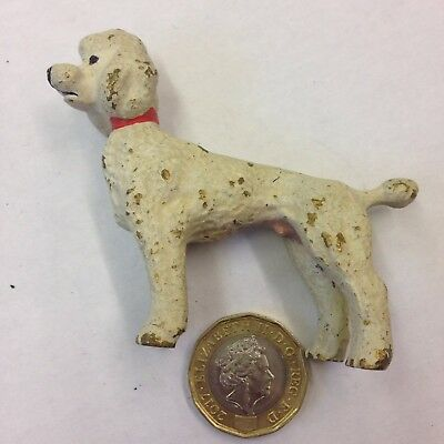 Cold Painted Bronze Figure Of A White Poodle With Red Collar Probably Austrian