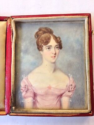 Fine Antique Portrait Miniature Of Mary Anne Oakes Wife Henry James Oakes Lady