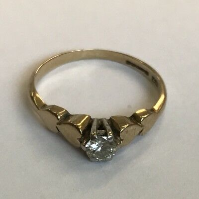 Vintage 9ct Solid Yellow Gold Diamond Solitaire Ring Size H1/2 1983