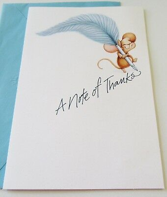Unused Vtg Blank Thank You Card Cute Mouse W Blue Quill Pen Hallmark