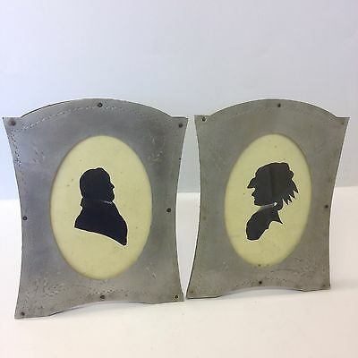 Pair Of Antique Silhouettes Portraits Of A Gentleman And Lady In Metal Frames