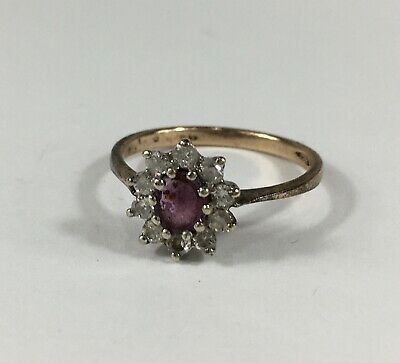 Vintage Solid 9ct Gold Diamond & Synthetic Ruby Cluster Ring Size L1/2