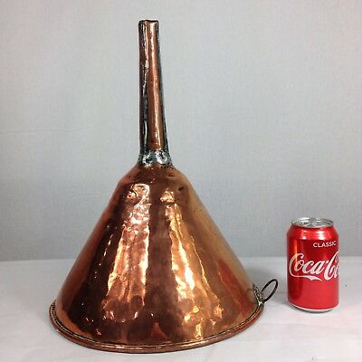 """Large Antique 19th Century Copper Brewing Funnel 15"""" Tall With Filter"""