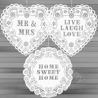 Sass & Belle Wooden Hanging Heart Doilies Vintage Home Decoration Wall Plaques