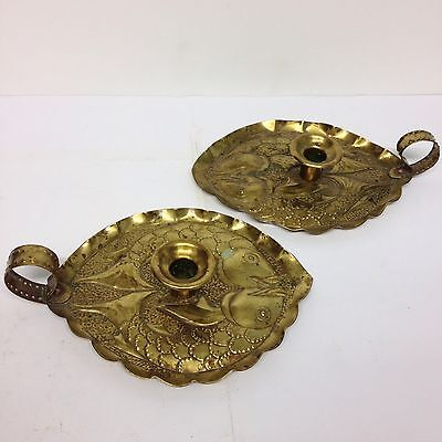 Pair Arts & Crafts Brass Chambersticks Fish Decoration Newlyn Style