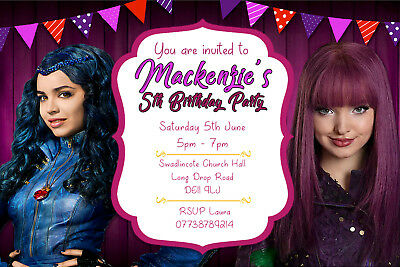 Personalised Disney Descendants 2 Birthday Party Invites Inc Envelopes DEC6