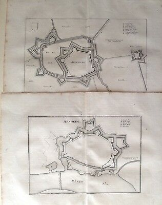 2 Antique Plans Arnhem + Aardenburg Netherland Merian 1659