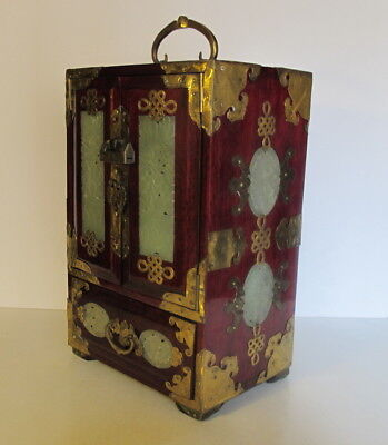 """Vintage Asian Chinese Jade Brass Wood Jewelry Box Chest Trunk 12.5"""" tall Lock"""