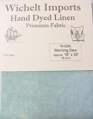 "Wichelt Hand Dyed 100% Linen Morning Dew 28 Ct 18"" x 26"" Cross Stitch Fabric"
