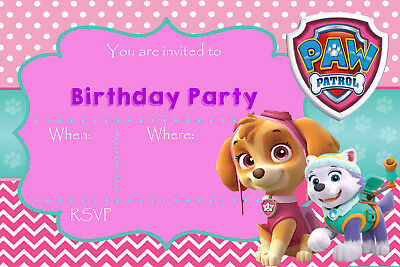 Paw Patrol Skye Everest Pink Girls Birthday Party Invites PP1