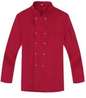 Red Culinary Double Breasted Coat Chef Kichen Jacket Large NWT