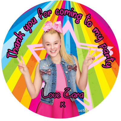 24 Personalised JoJo Siwa Birthday Party Thank You Stickers Sweet Cone Favour J2