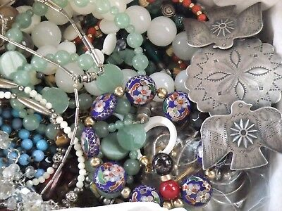 Vintage Jewelry Lot Mixed Pieces All Wear And Very Nice!! Apx. 3#'s Glass Stones