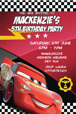 Personalised Cars Lightning McQueen Birthday Party Invites Envelopes CARS3