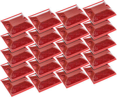 NEW Commercial Reflective Road Highway Pavement Marker Reflector 20 Pack (Red)