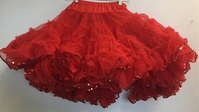 Square Dance Petticoat, Shimmery Red W Sequins, Elastic Waist, S/m