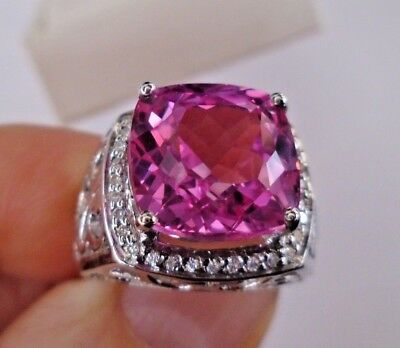 Lab Created Pink Tourmaline Gemstone in Sterling Silver with White CZ - Size 6.5