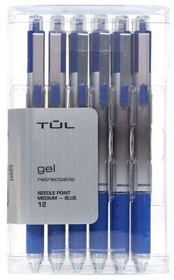 TUL Retractable Gel Pens, Needle Point, 0.7mm, Gray Barrel, Blue Ink, Pack of 12