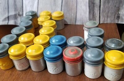 7 Vtg Kodak & other Film Metal Canister Container Multiple Colors Combination