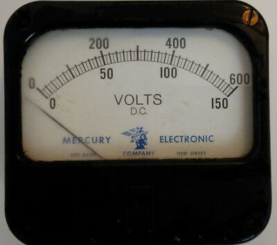"150 V 600 V vintage analog panel meter Mercury Electronic 4.125""x3.875"""