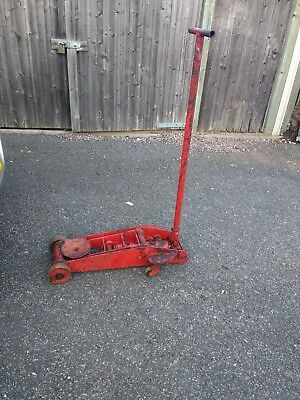 LARGE VINTAGE Trolley Jack Heavy Duty Hydraulic  Jack FULLY WORKING