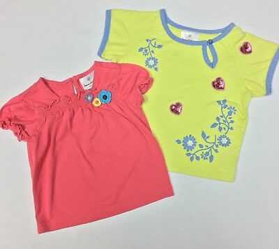 Lot Of 2 Hanna Andersson Girls 80 Short Sleeve Cotton Shirts (#D13)