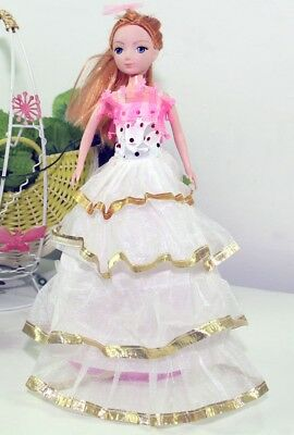 Handmade Party Dress Fashion WhiteP Clothes For Barbie Doll Outfit Gown Wedding