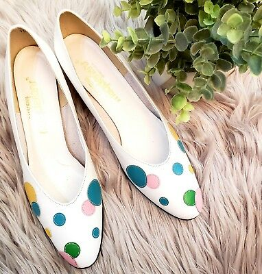 Vintage California Magdesians White Multi Color Polka Dot Leather Heels Pumps 7