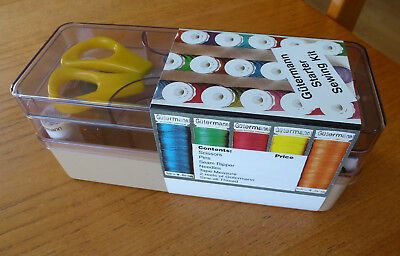 Beige Gutermann Starter Sewing Kit: Scissors, Pins, Seam Ripper, Needles, Thread