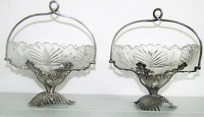 Antique 19thC Early Cut Glass & Silver Bowls Baskets Beautiful 2 Pair leaf palm