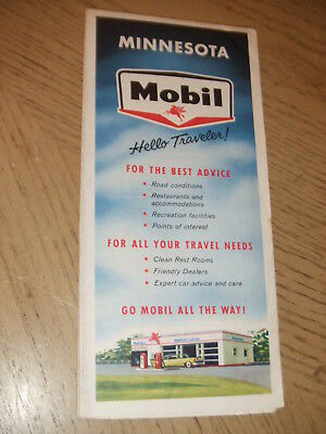 VINTAGE 1960 MOBIL Gas Oil Minnesota State Highway Road Map Winona ...