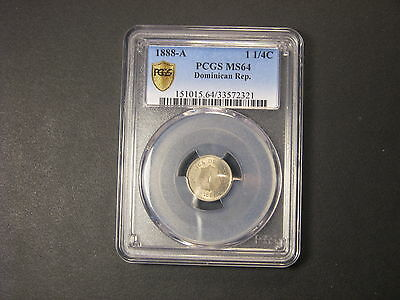 1888  PCGS MS64 Dominican Republic 1-1/4  Centavos
