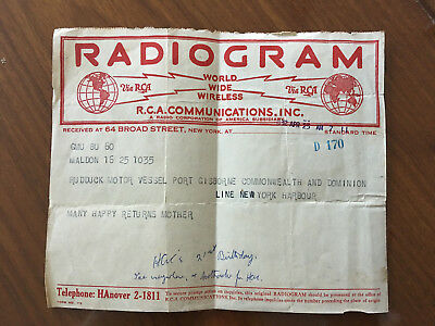 Estate Sale!1932 Radiogram sent from New york to my late father in law's vessel