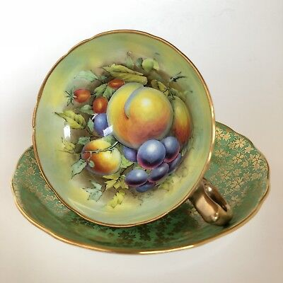 Vintage HP Signed Hammersley Gold Chintz Cup & Saucer Fruit Peach Plum Rose Hip