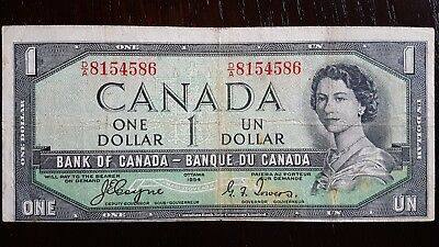 "1954 BANK OF CANADA $1 BC-29a ""DEVILS FACE"" BANK NOTE  Offset Print front     F"